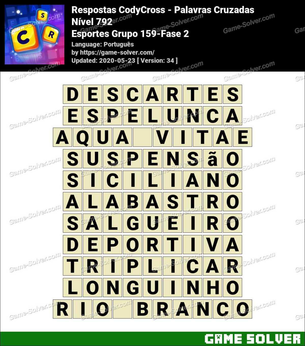 Respostas CodyCross Esportes Grupo 159-Fase 2