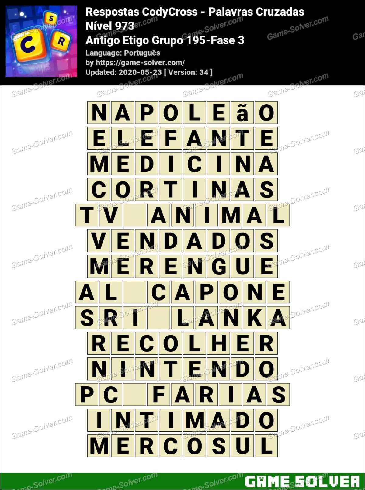 Respostas CodyCross Antigo Etigo Grupo 195-Fase 3