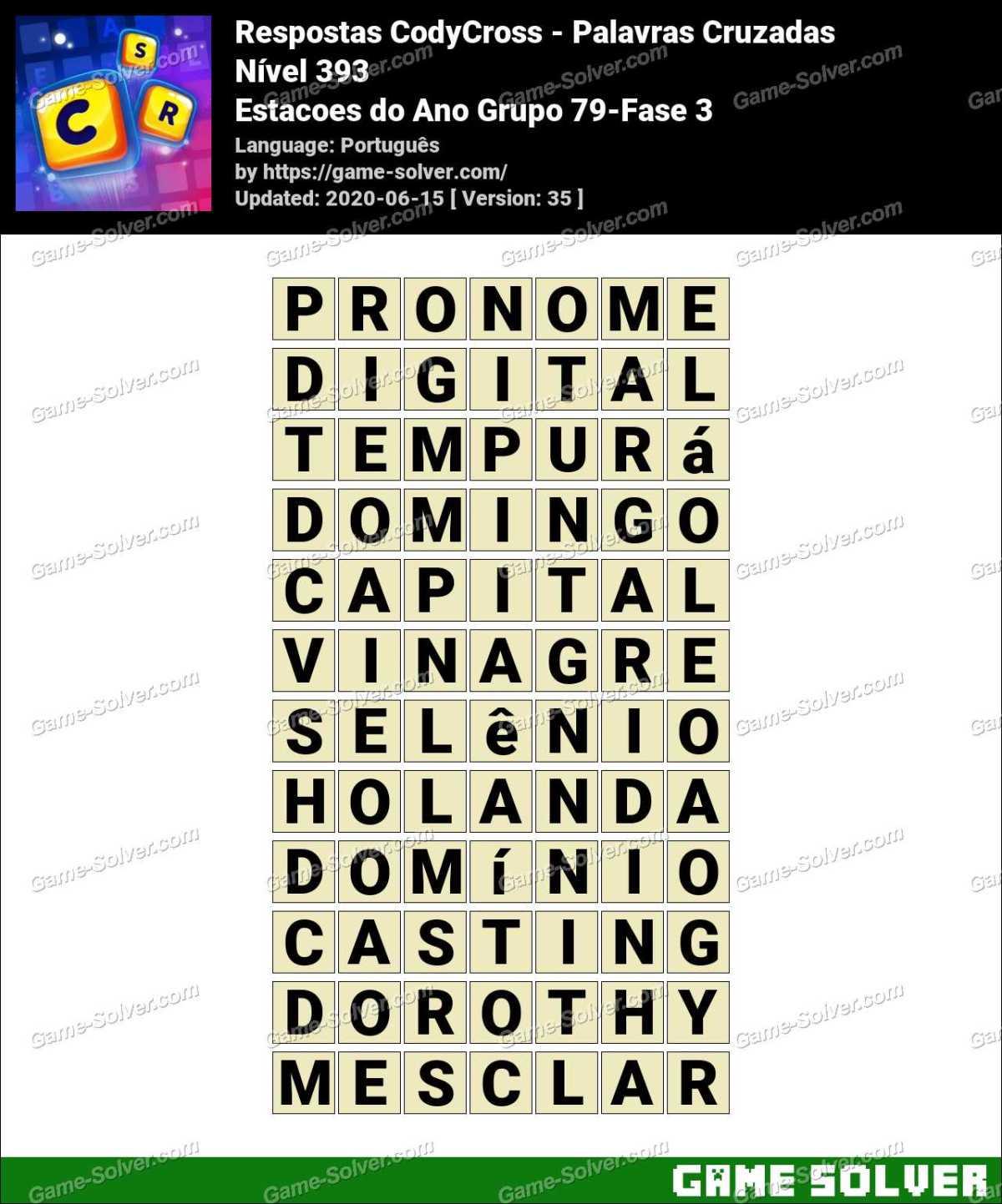 Respostas CodyCross Estacoes do Ano Grupo 79-Fase 3