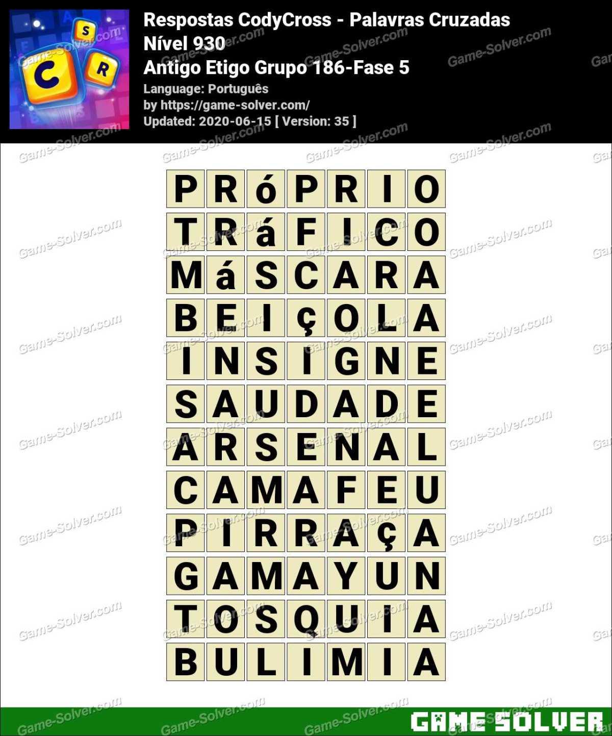 Respostas CodyCross Antigo Etigo Grupo 186-Fase 5