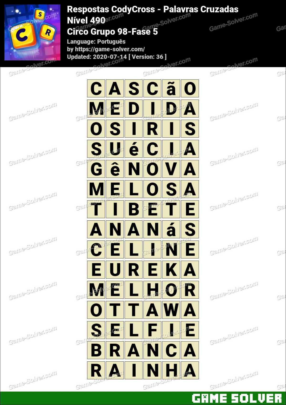 Respostas CodyCross Circo Grupo 98-Fase 5
