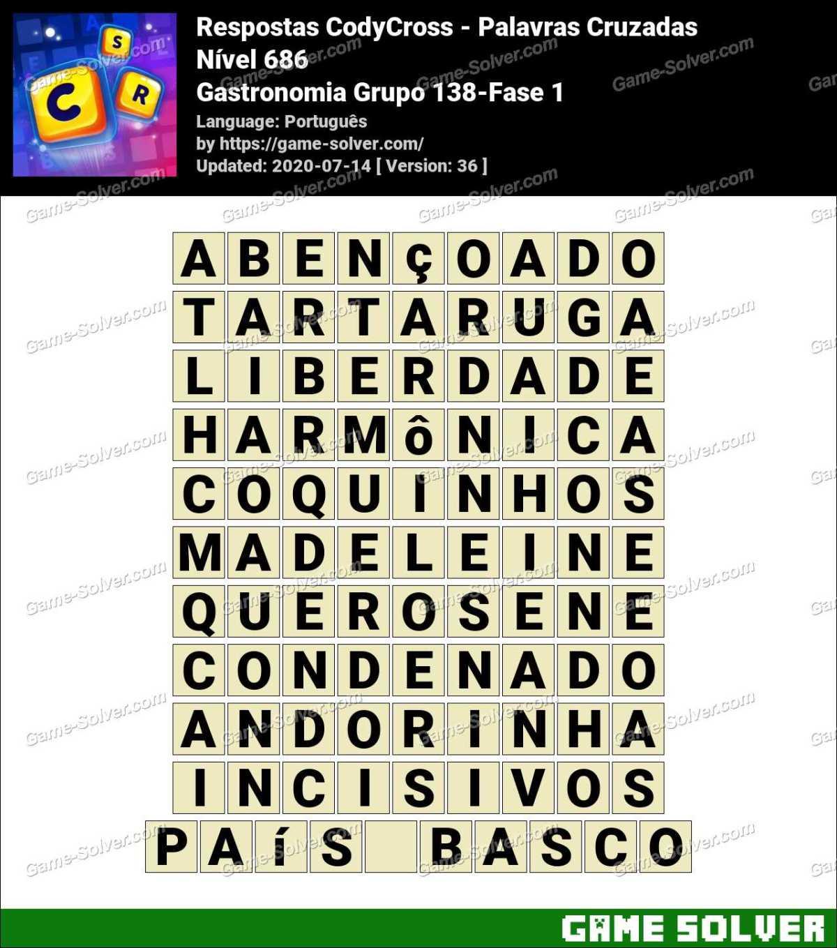 Respostas CodyCross Gastronomia Grupo 138-Fase 1