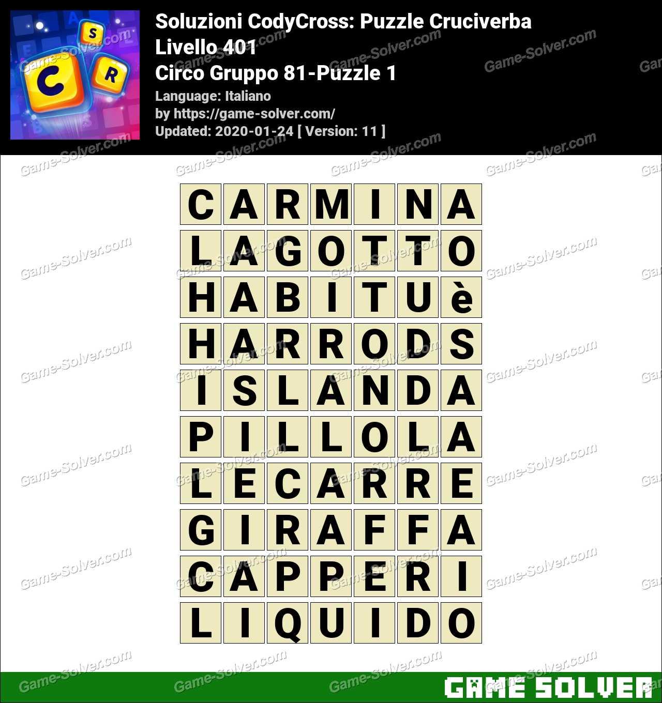 Soluzioni CodyCross Circo Gruppo 81-Puzzle 1