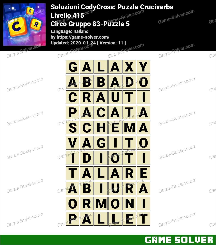 Soluzioni CodyCross Circo Gruppo 83-Puzzle 5