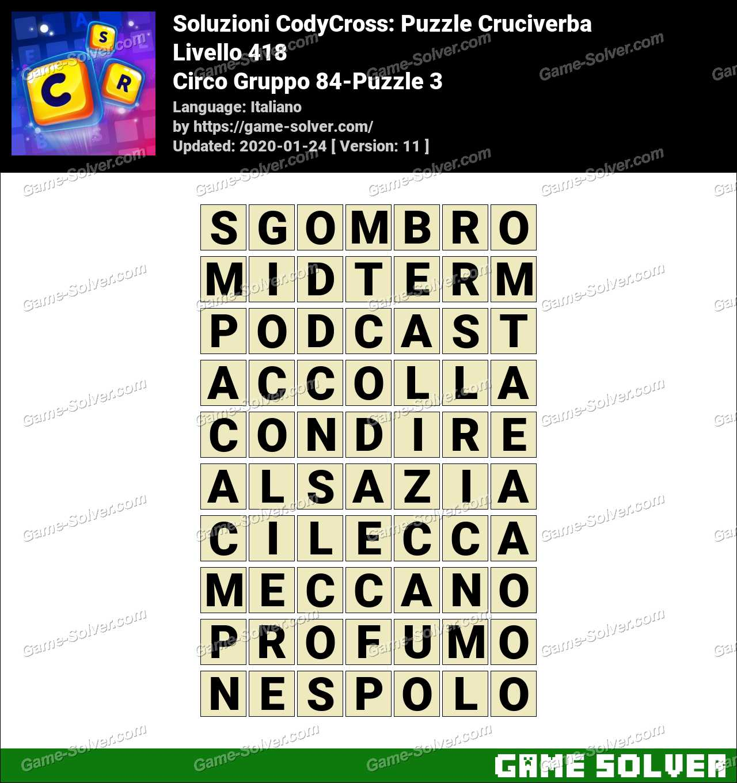 Soluzioni CodyCross Circo Gruppo 84-Puzzle 3