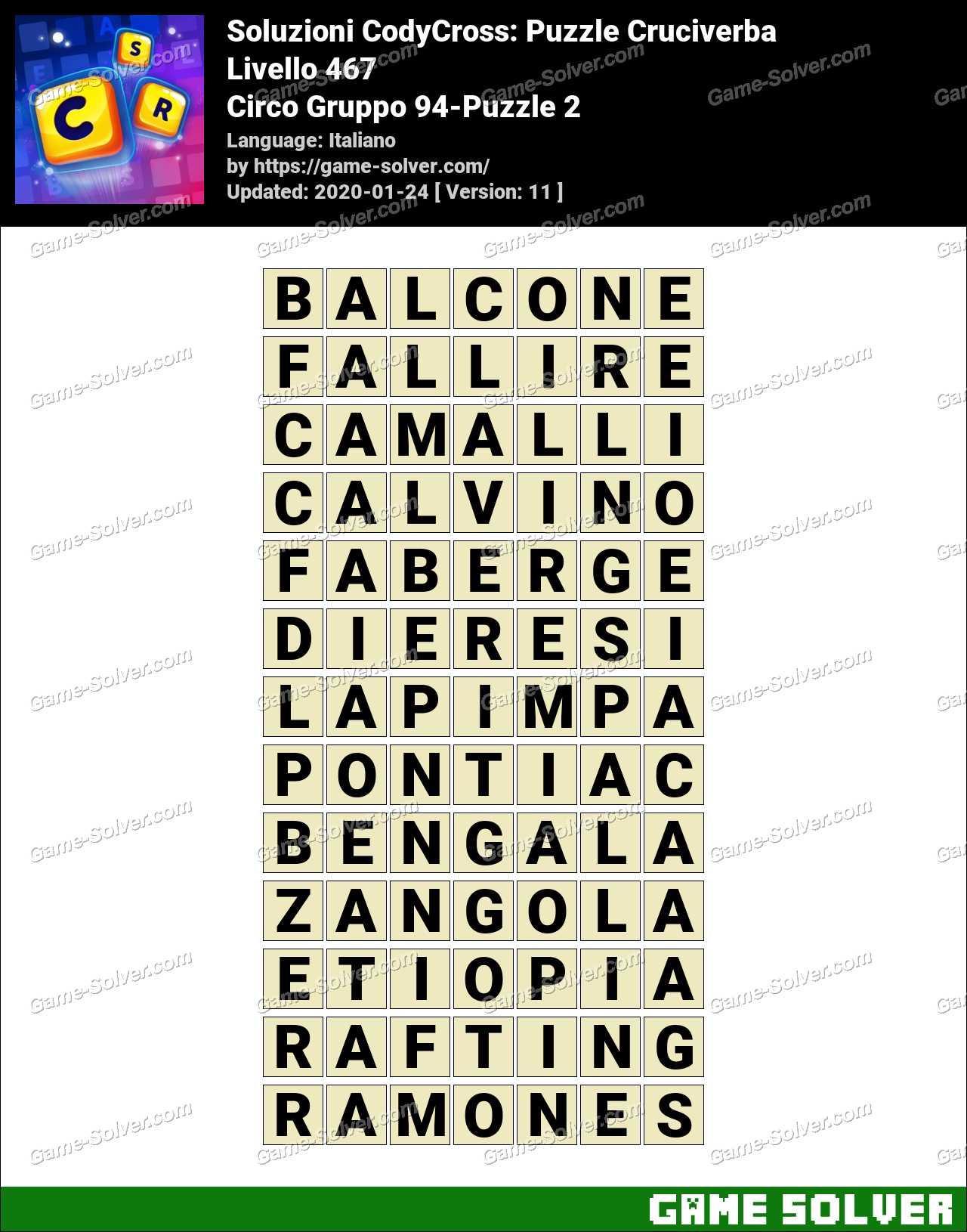 Soluzioni CodyCross Circo Gruppo 94-Puzzle 2