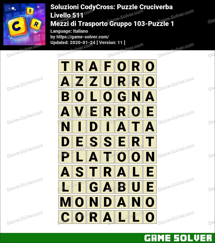 Soluzioni CodyCross Mezzi di Trasporto Gruppo 103-Puzzle 1