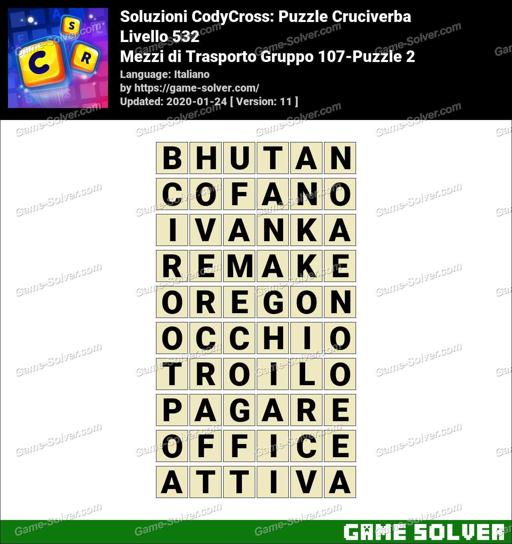 Soluzioni CodyCross Mezzi di Trasporto Gruppo 107-Puzzle 2