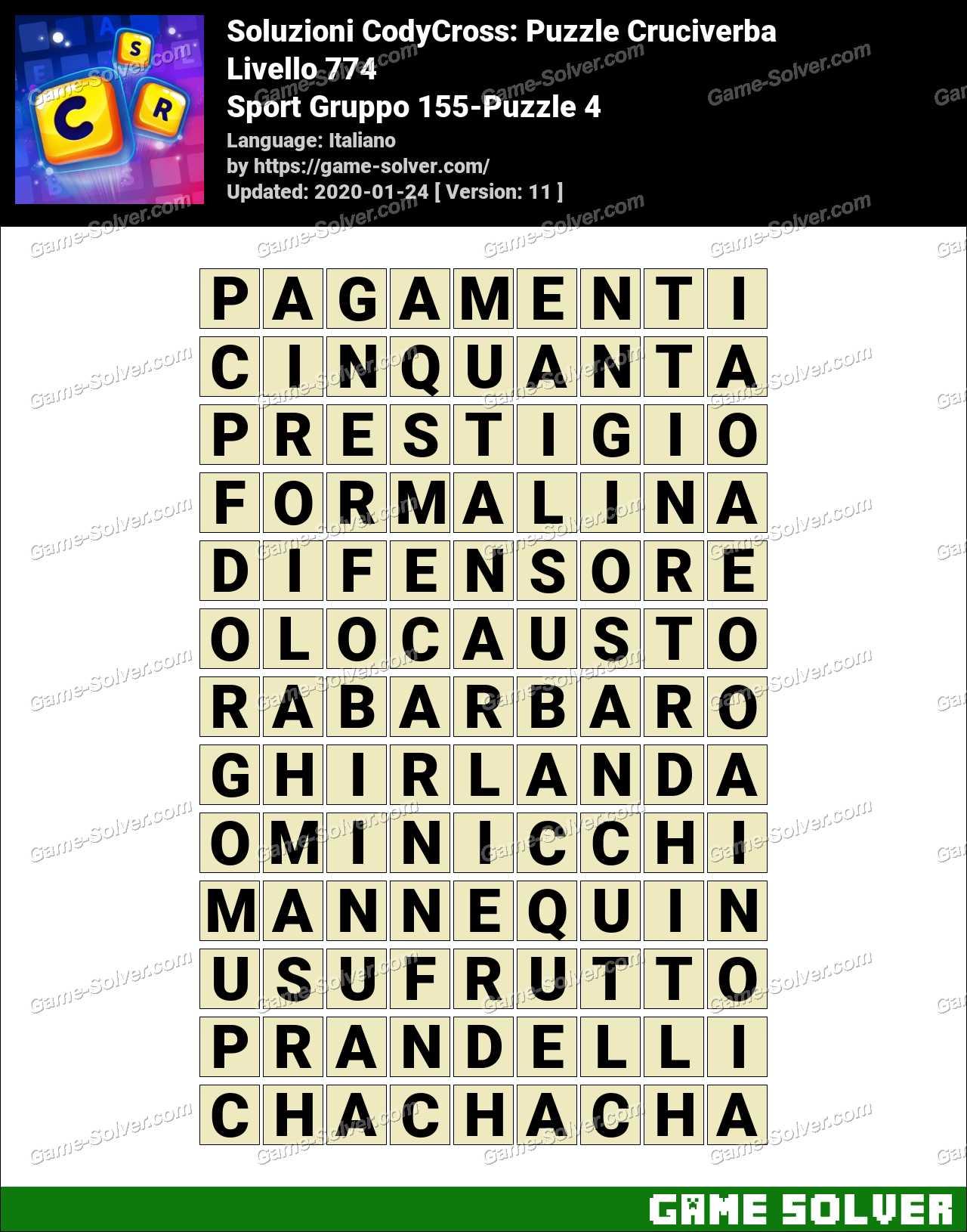 Soluzioni CodyCross Sport Gruppo 155-Puzzle 4