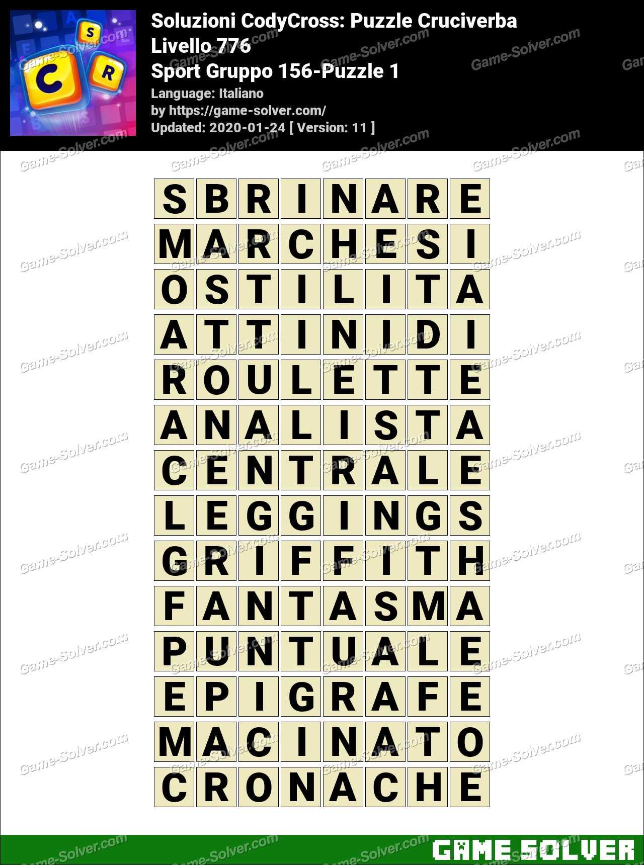 Soluzioni CodyCross Sport Gruppo 156-Puzzle 1