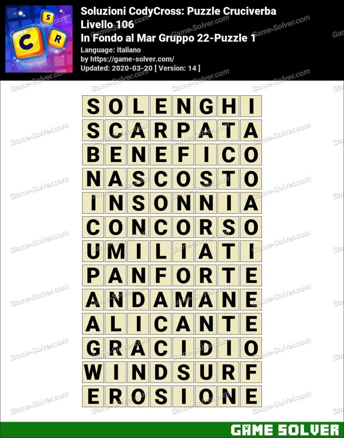 Soluzioni CodyCross In Fondo al Mar Gruppo 22-Puzzle 1