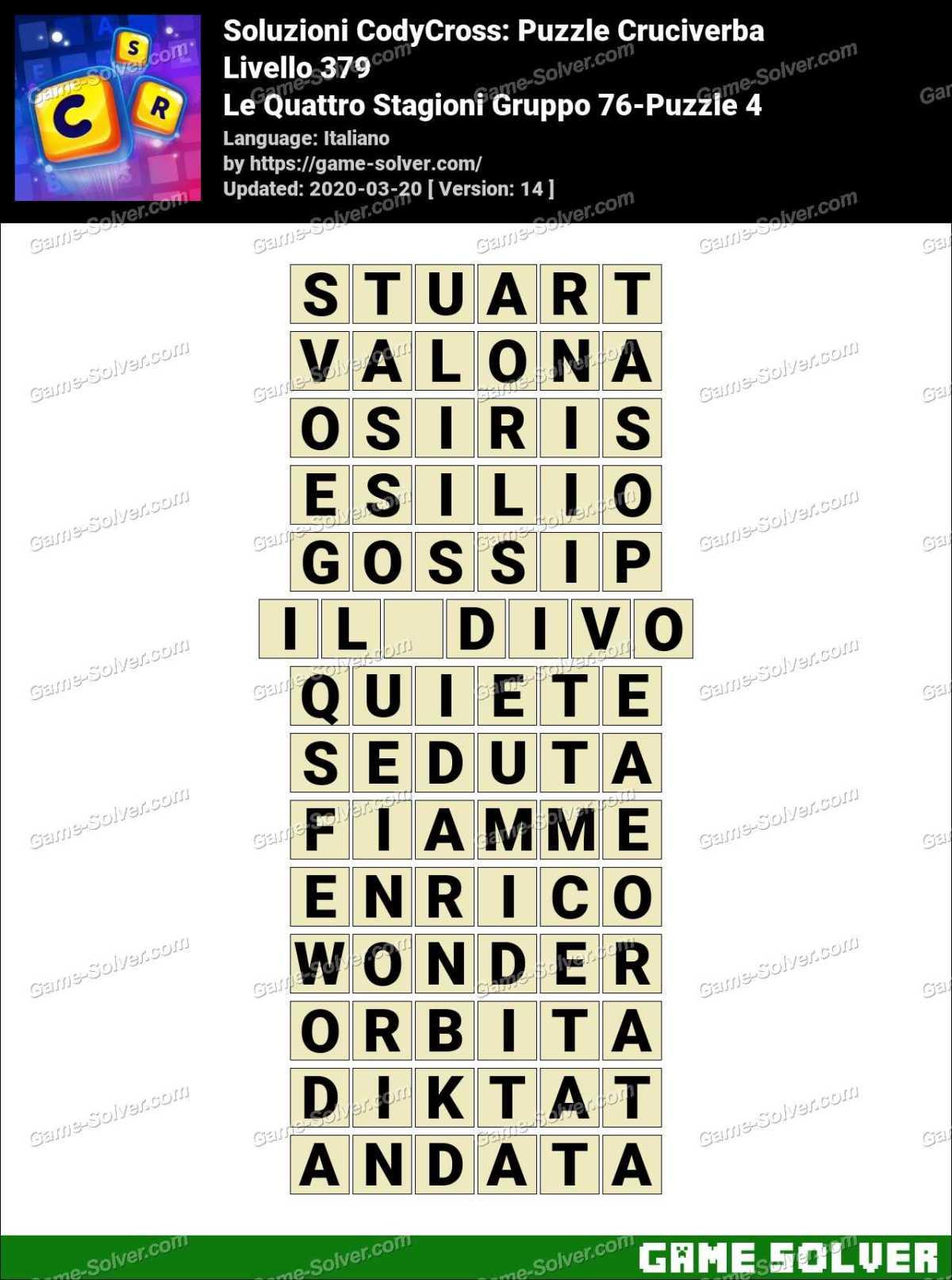 Soluzioni CodyCross Le Quattro Stagioni Gruppo 76-Puzzle 4