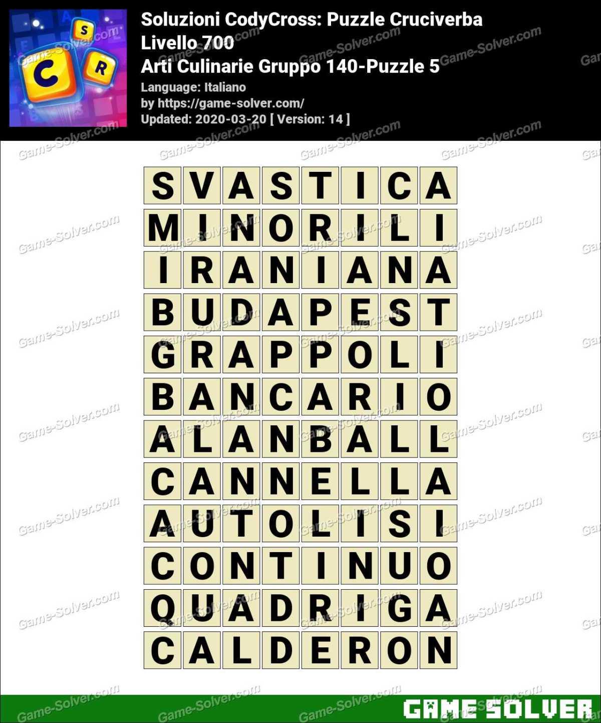 Soluzioni CodyCross Arti Culinarie Gruppo 140-Puzzle 5