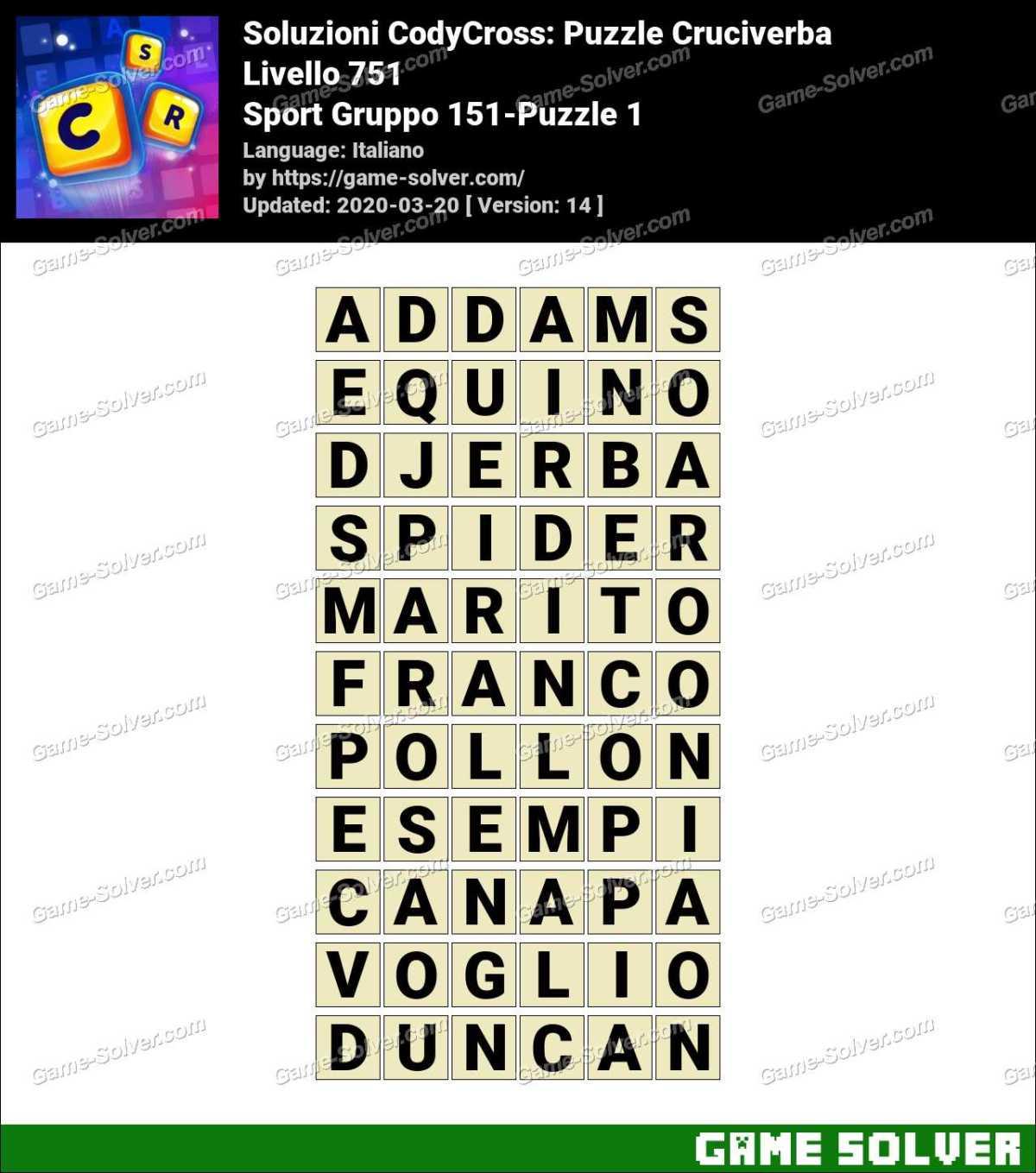 Soluzioni CodyCross Sport Gruppo 151-Puzzle 1