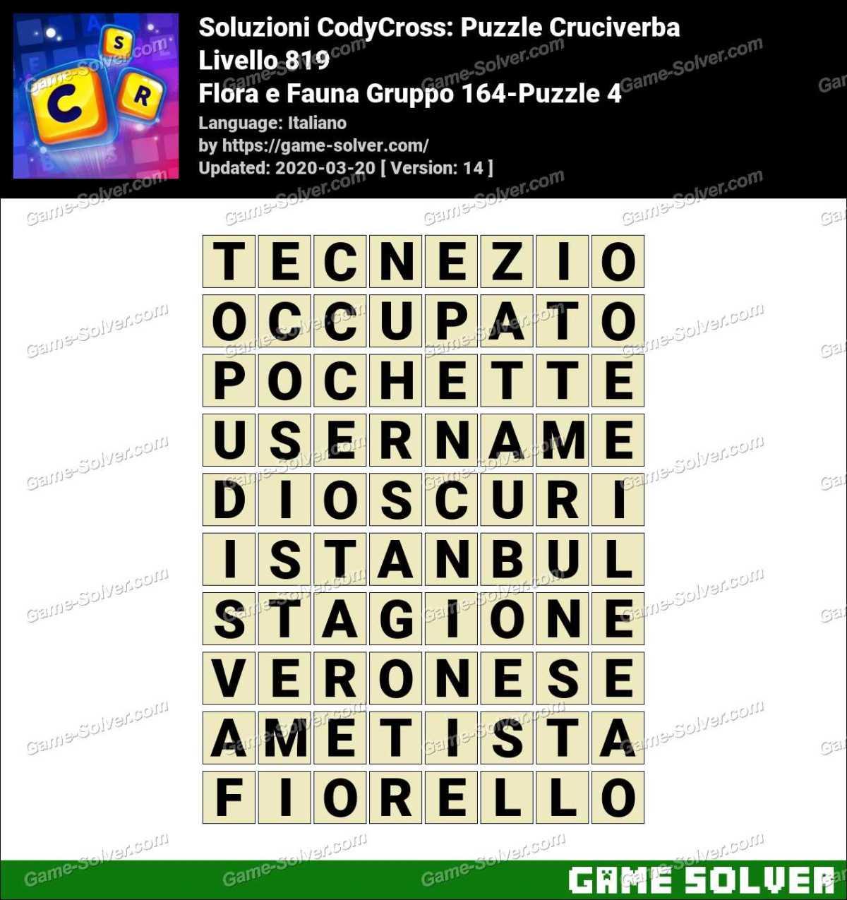 Soluzioni CodyCross Flora e Fauna Gruppo 164-Puzzle 4