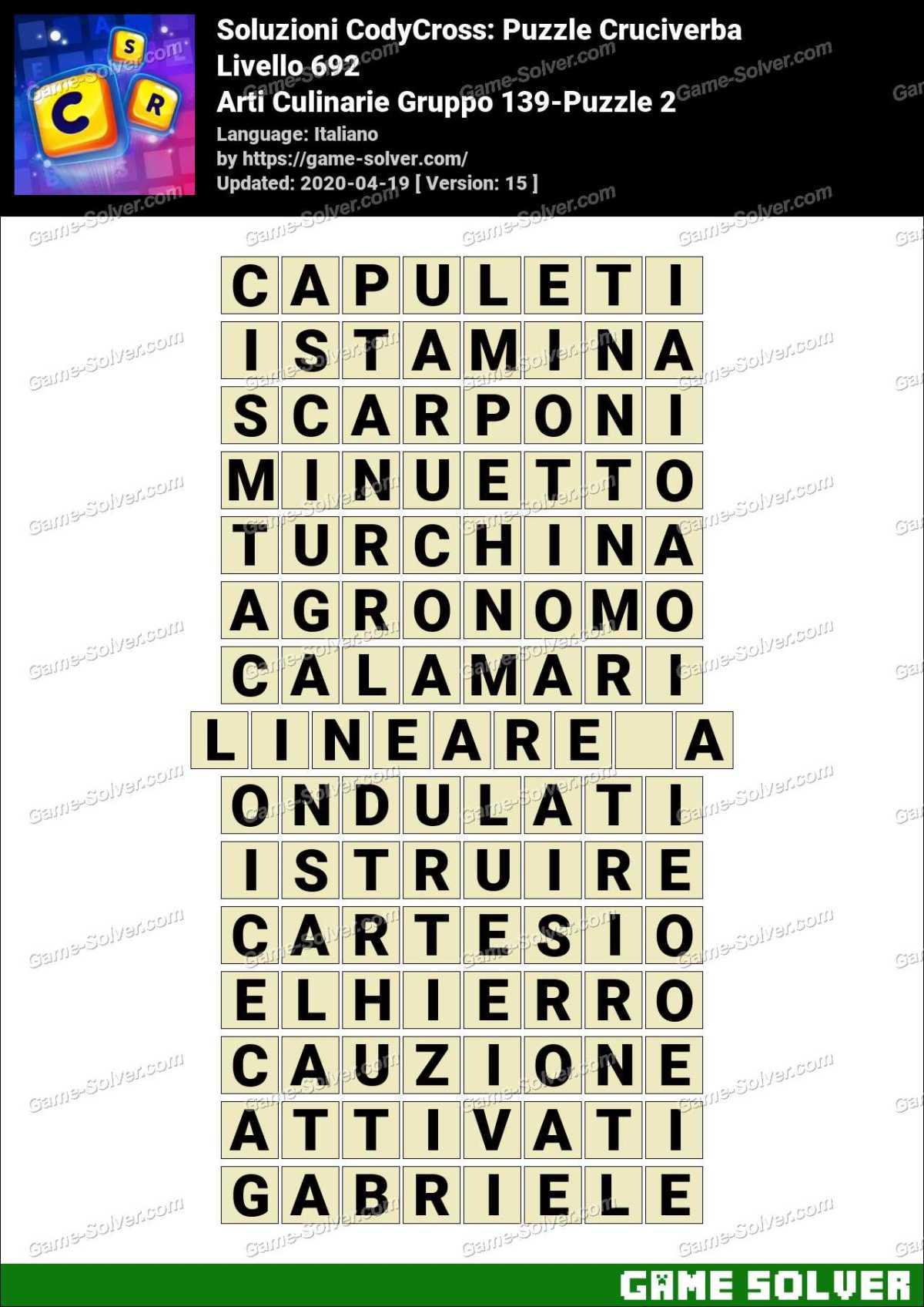 Soluzioni CodyCross Arti Culinarie Gruppo 139-Puzzle 2