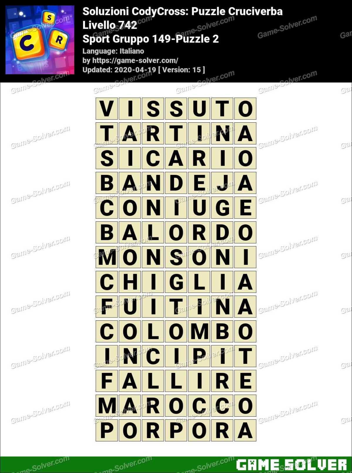 Soluzioni CodyCross Sport Gruppo 149-Puzzle 2