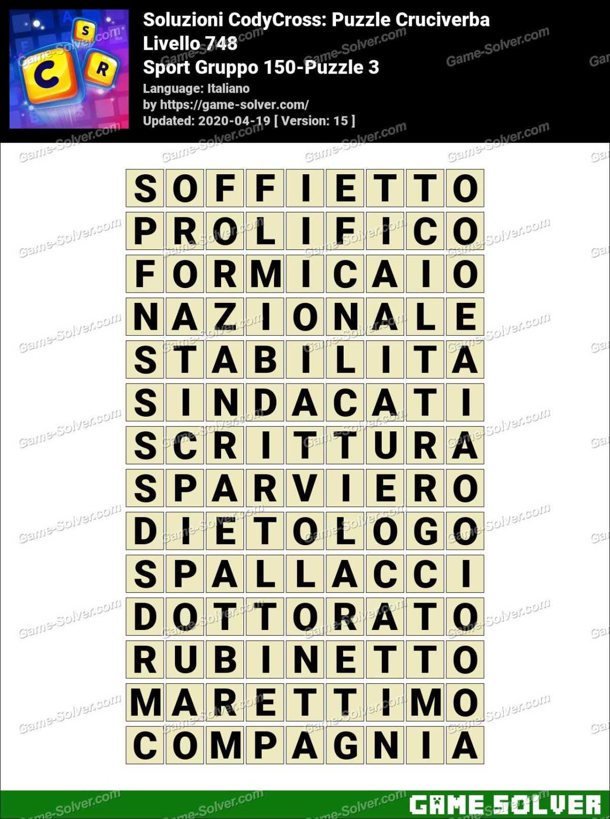 Soluzioni CodyCross Sport Gruppo 150-Puzzle 3