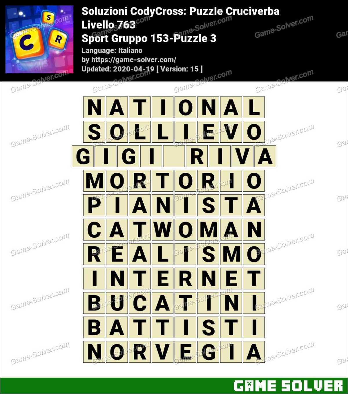Soluzioni CodyCross Sport Gruppo 153-Puzzle 3