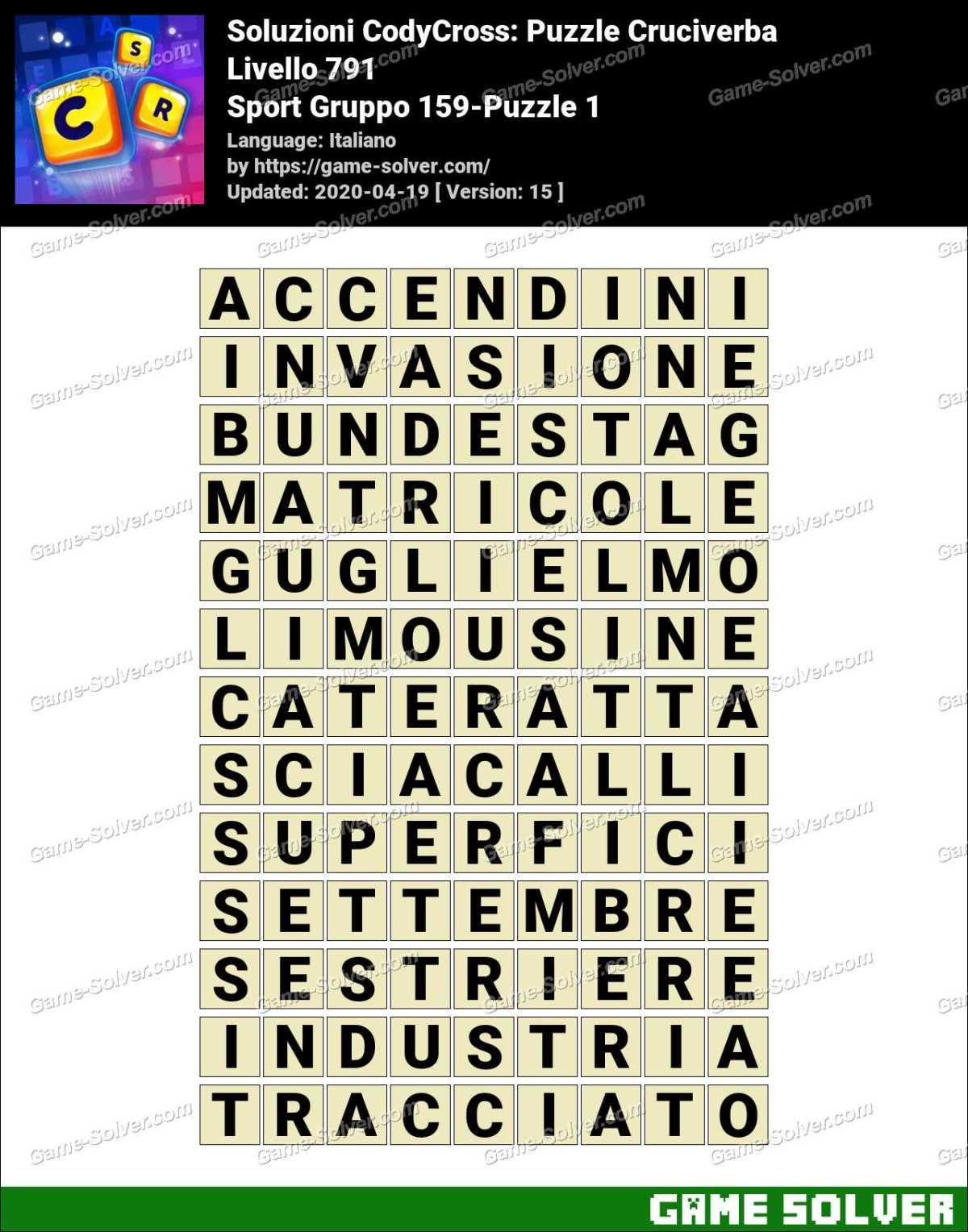 Soluzioni CodyCross Sport Gruppo 159-Puzzle 1