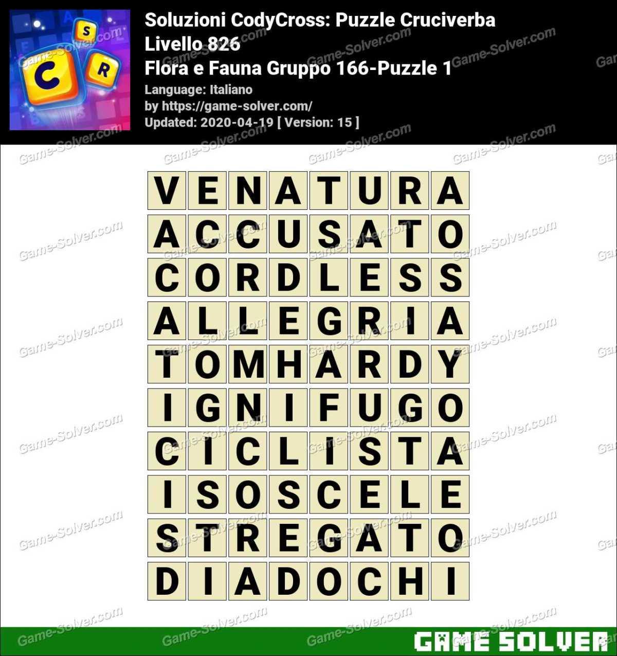 Soluzioni CodyCross Flora e Fauna Gruppo 166-Puzzle 1