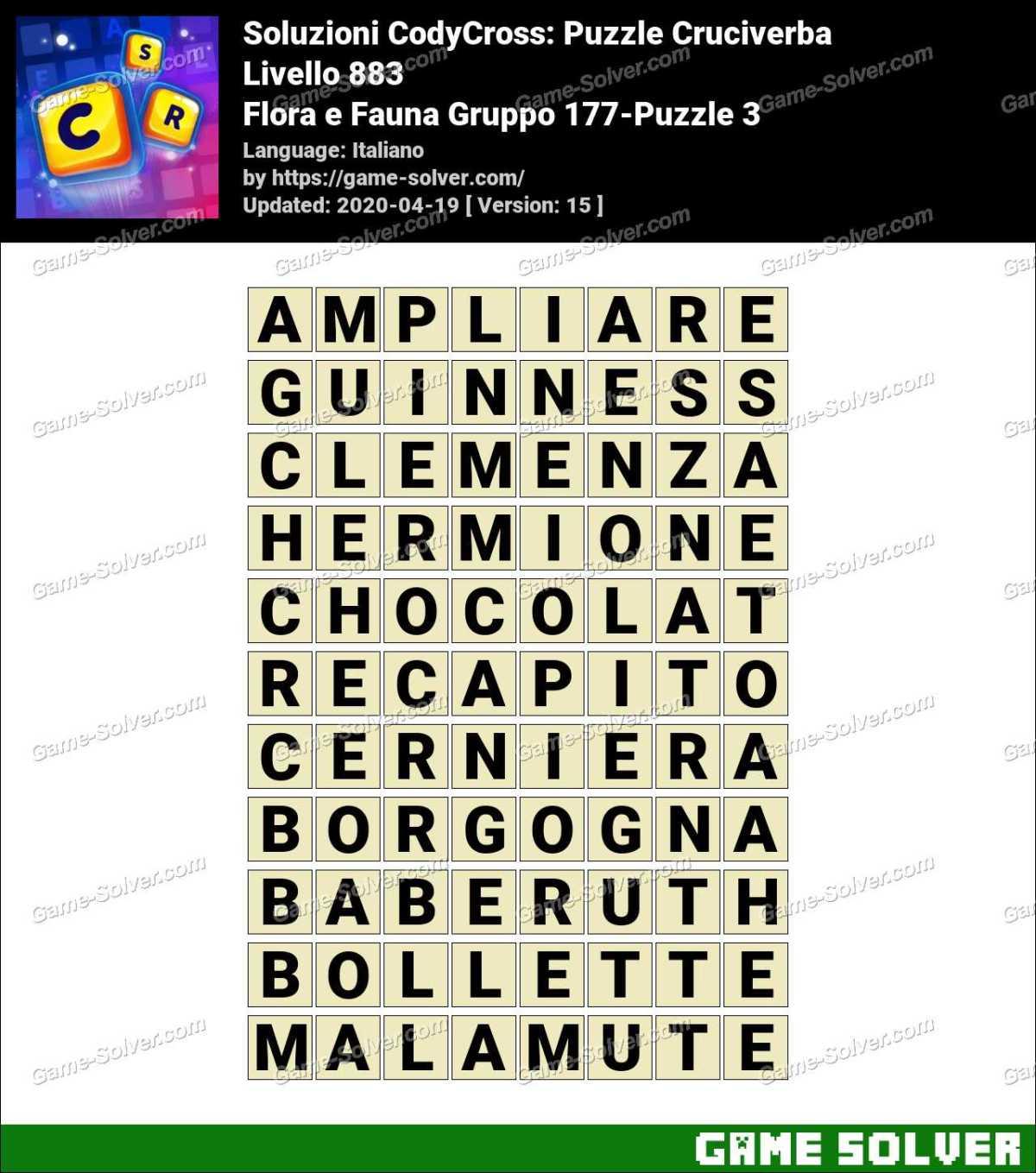 Soluzioni CodyCross Flora e Fauna Gruppo 177-Puzzle 3