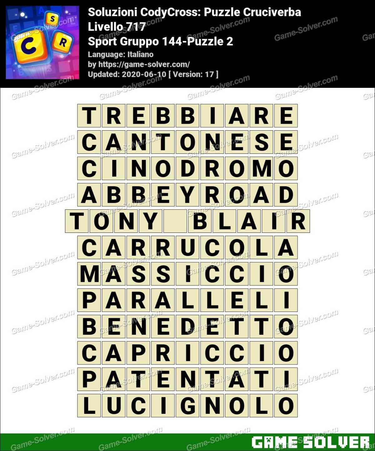 Soluzioni CodyCross Sport Gruppo 144-Puzzle 2