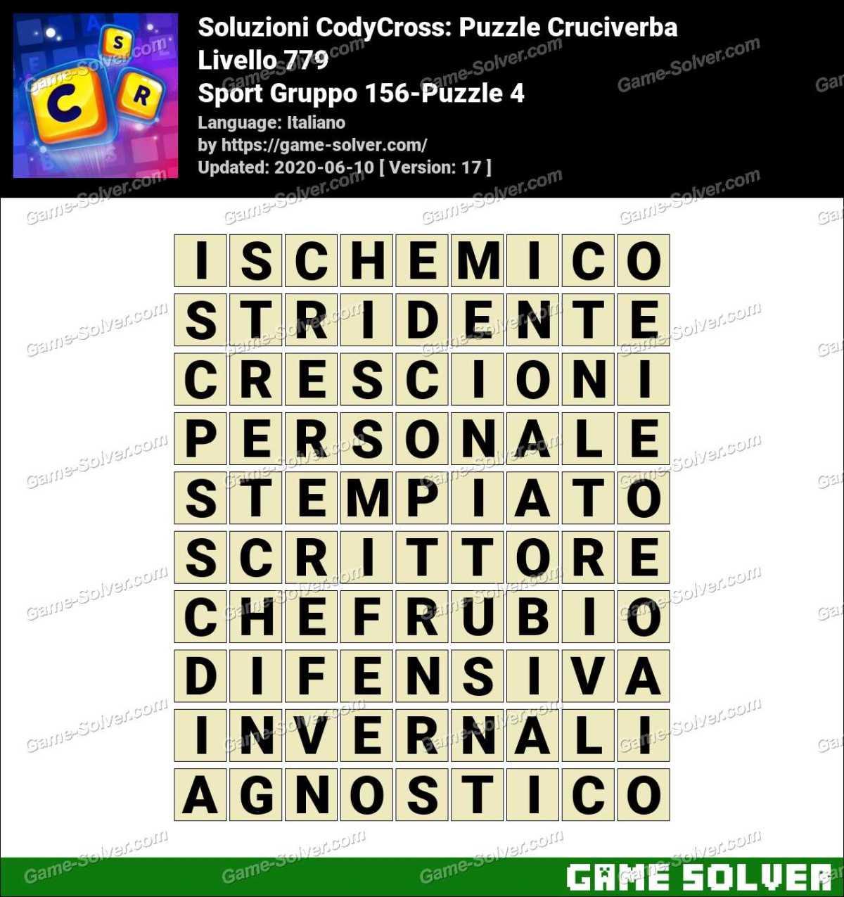 Soluzioni CodyCross Sport Gruppo 156-Puzzle 4