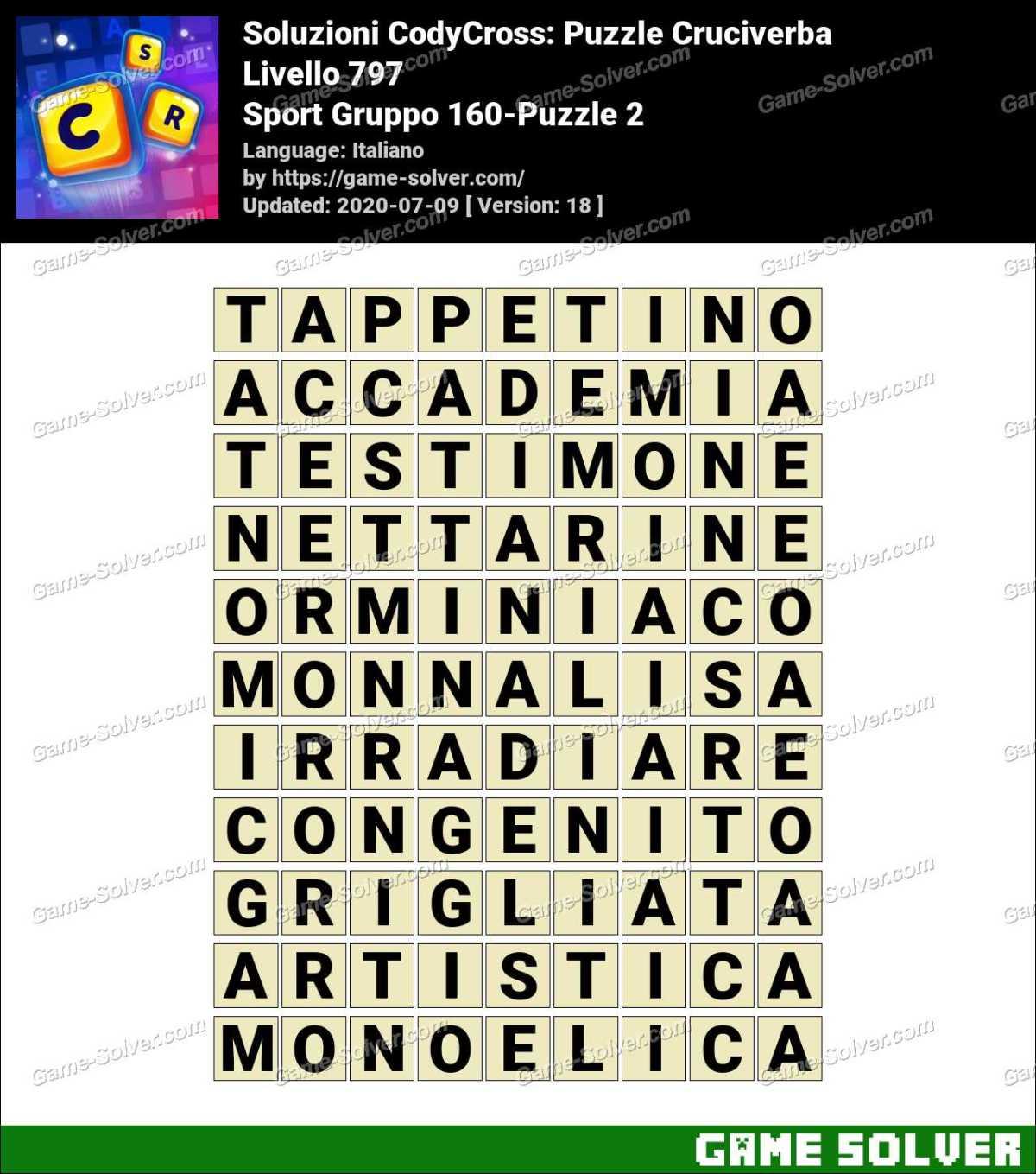 Soluzioni CodyCross Sport Gruppo 160-Puzzle 2