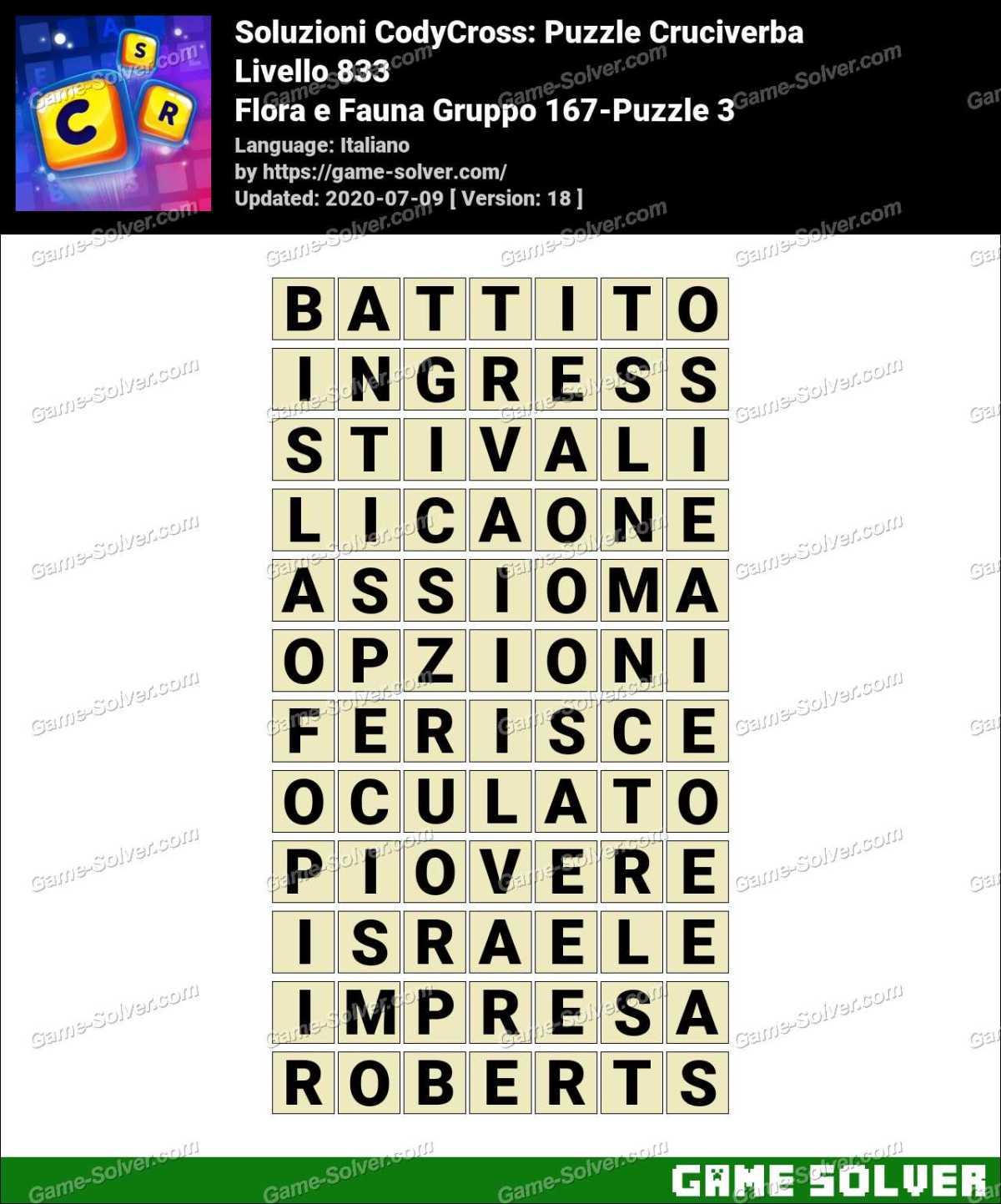 Soluzioni CodyCross Flora e Fauna Gruppo 167-Puzzle 3