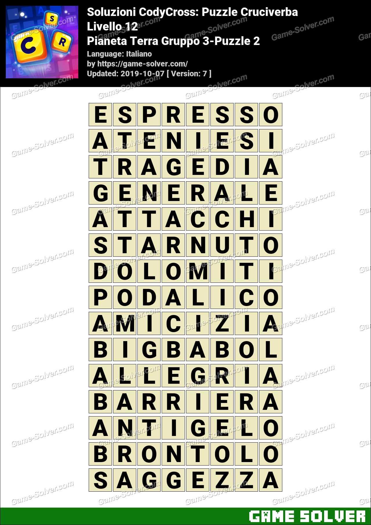 Soluzioni CodyCross Pianeta Terra Gruppo 3-Puzzle 2