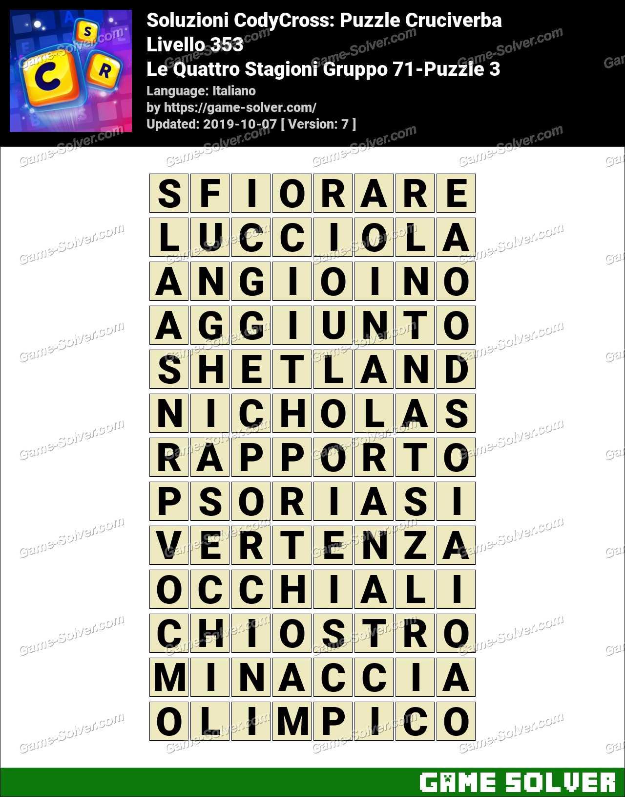 Soluzioni CodyCross Le Quattro Stagioni Gruppo 71-Puzzle 3