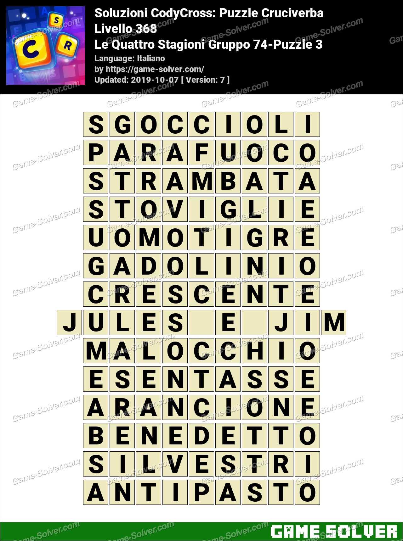 Soluzioni CodyCross Le Quattro Stagioni Gruppo 74-Puzzle 3