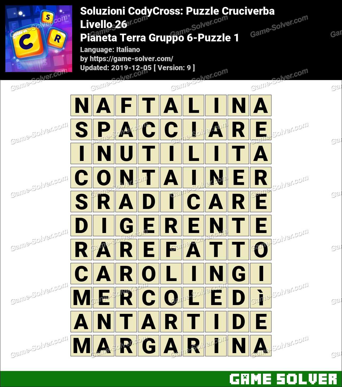 Soluzioni CodyCross Pianeta Terra Gruppo 6-Puzzle 1
