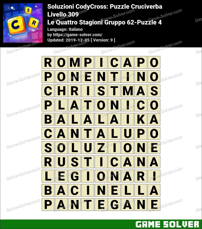 Soluzioni CodyCross Le Quattro Stagioni Gruppo 62-Puzzle 4