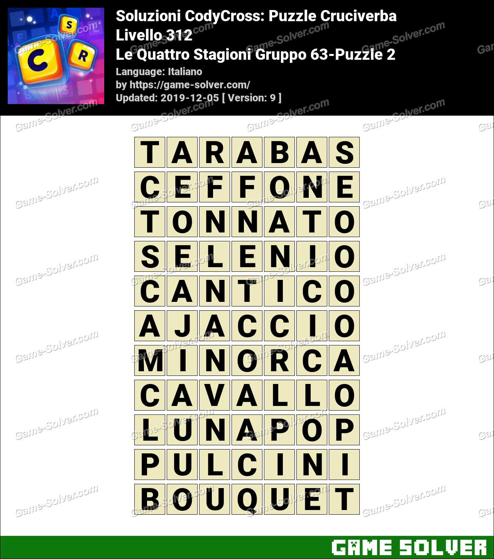 Soluzioni CodyCross Le Quattro Stagioni Gruppo 63-Puzzle 2