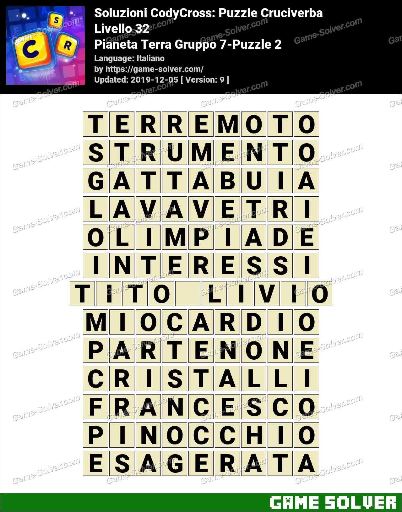 Soluzioni CodyCross Pianeta Terra Gruppo 7-Puzzle 2