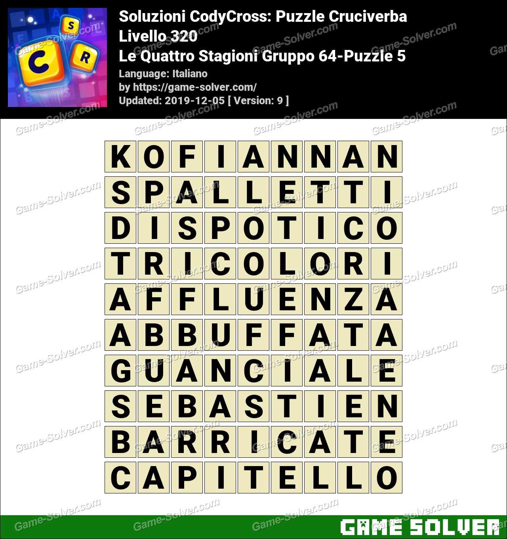 Soluzioni CodyCross Le Quattro Stagioni Gruppo 64-Puzzle 5