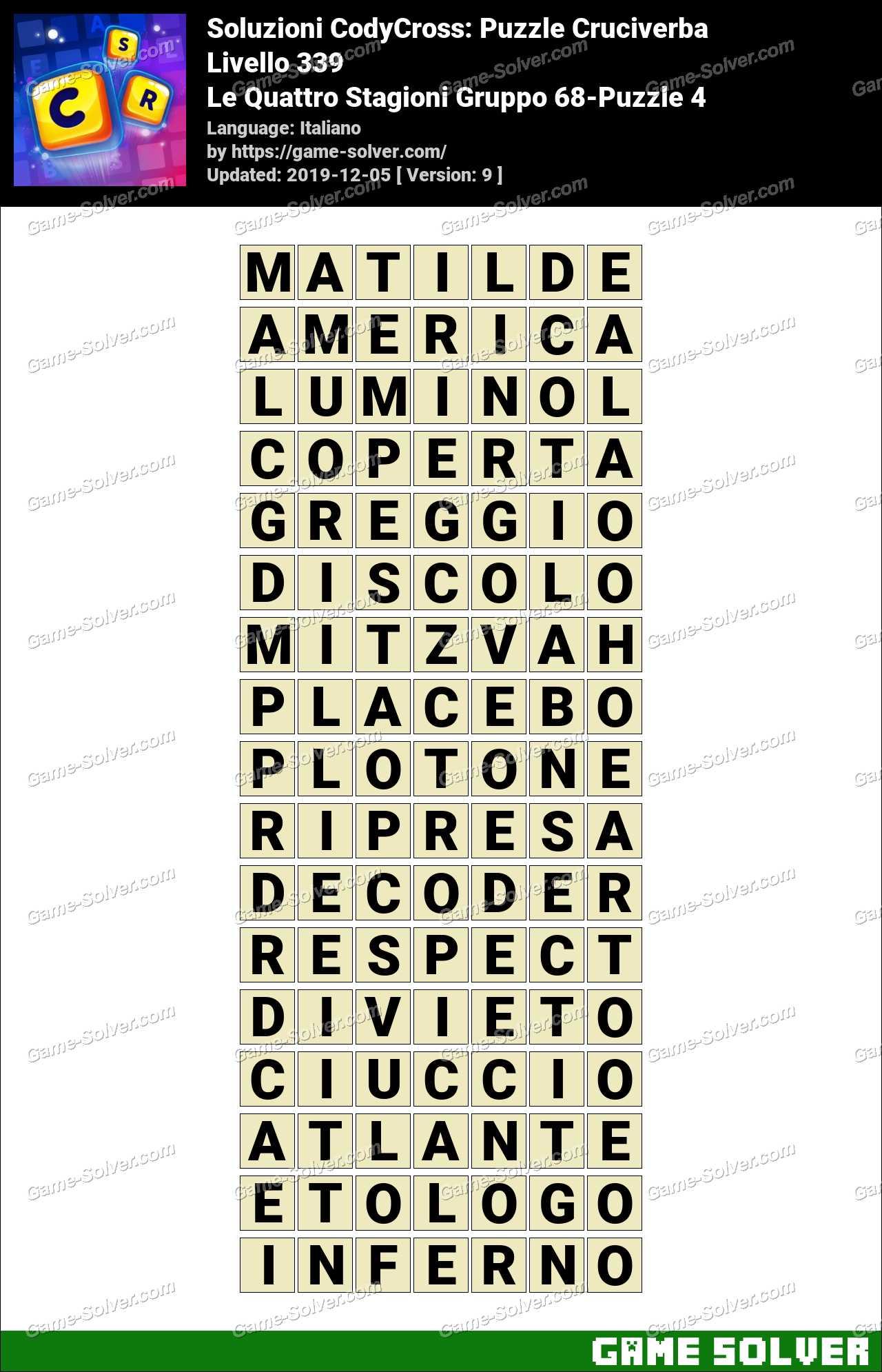Soluzioni CodyCross Le Quattro Stagioni Gruppo 68-Puzzle 4