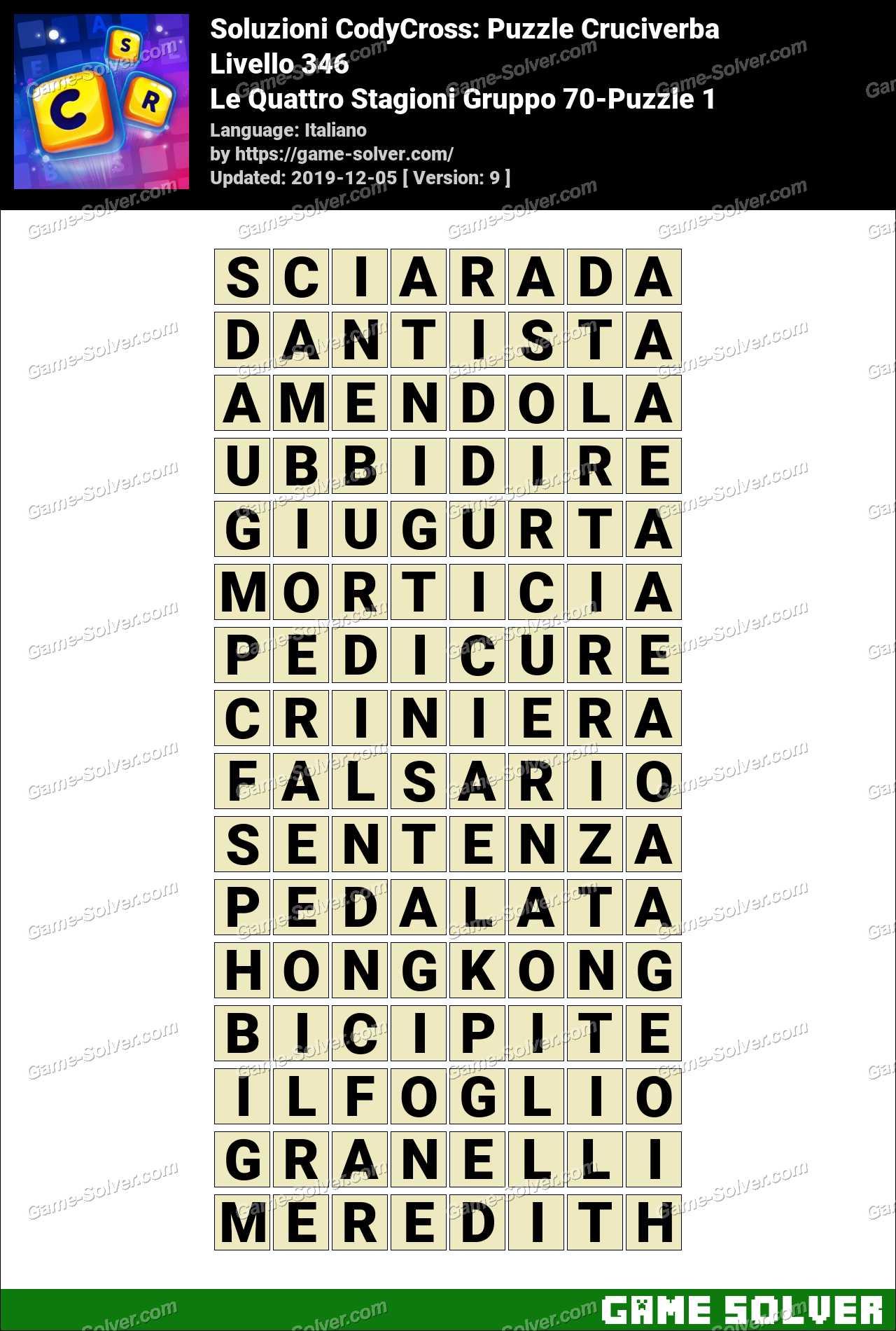 Soluzioni CodyCross Le Quattro Stagioni Gruppo 70-Puzzle 1