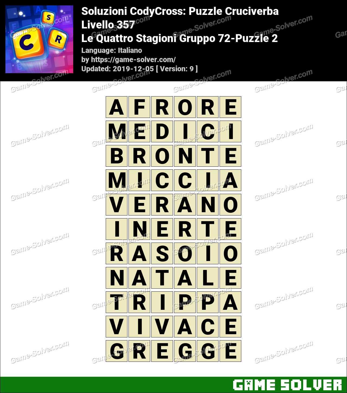 Soluzioni CodyCross Le Quattro Stagioni Gruppo 72-Puzzle 2
