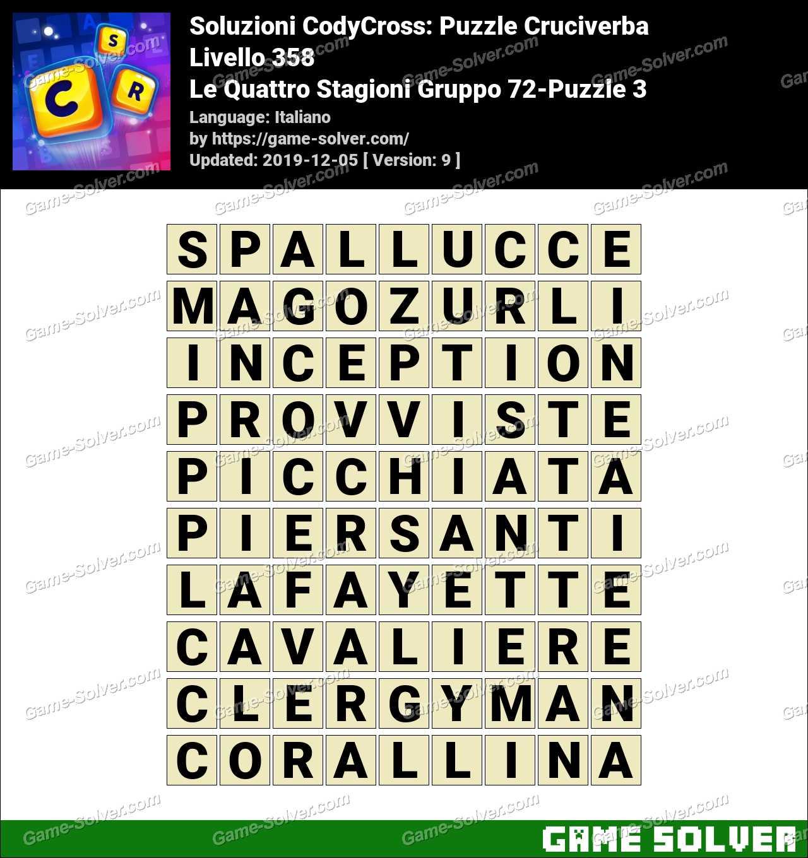 Soluzioni CodyCross Le Quattro Stagioni Gruppo 72-Puzzle 3