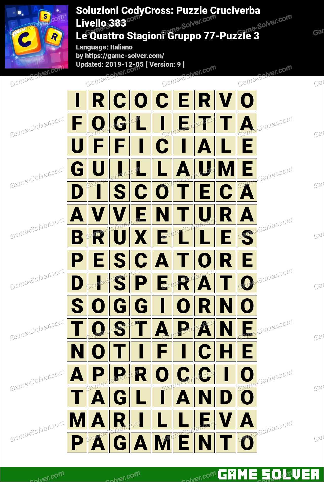Soluzioni CodyCross Le Quattro Stagioni Gruppo 77-Puzzle 3