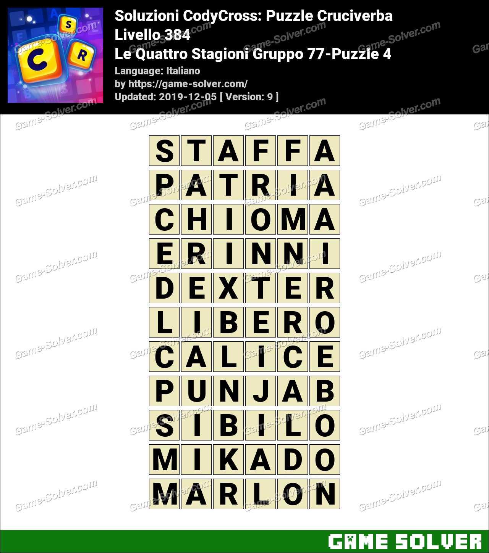 Soluzioni CodyCross Le Quattro Stagioni Gruppo 77-Puzzle 4