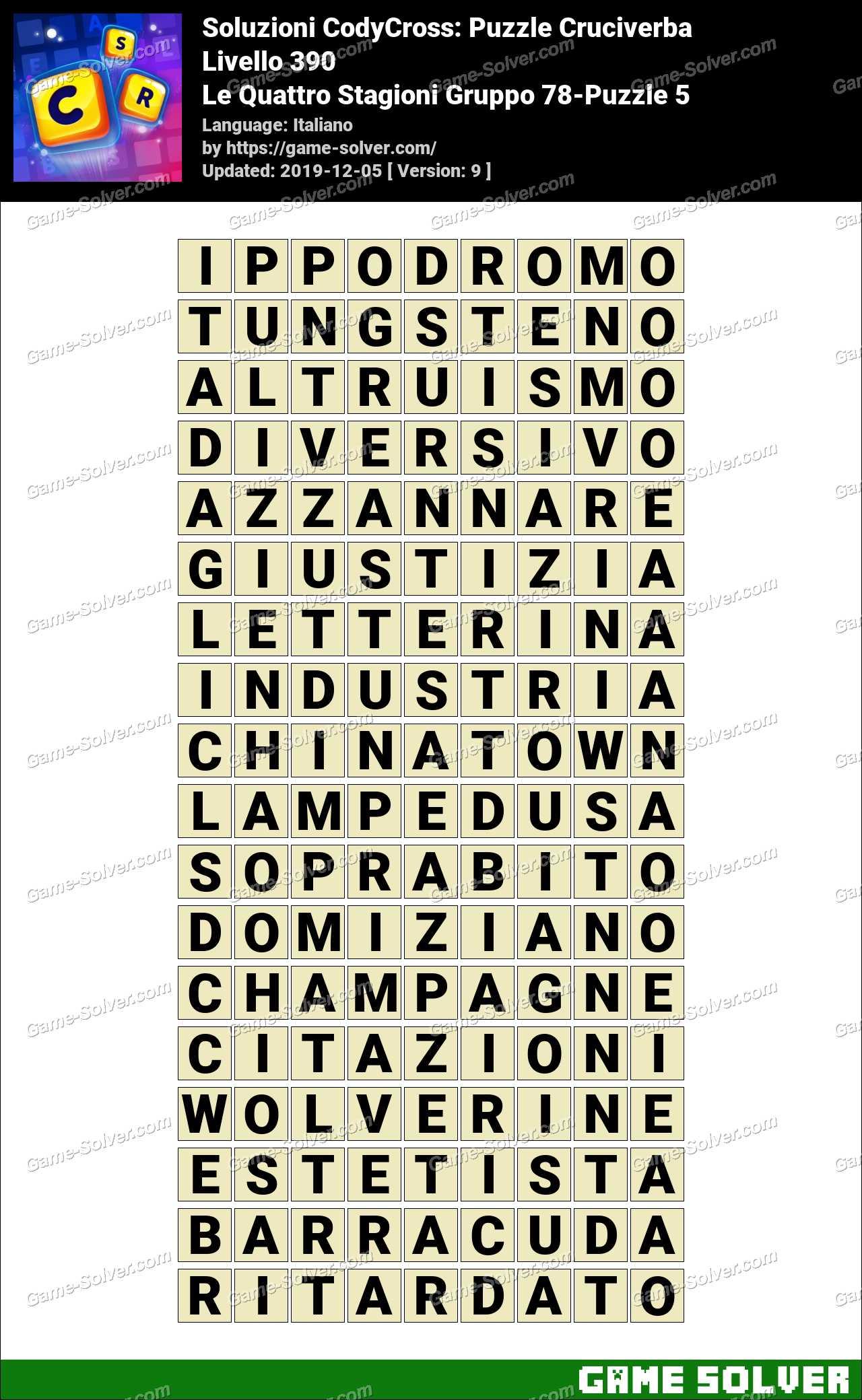 Soluzioni CodyCross Le Quattro Stagioni Gruppo 78-Puzzle 5