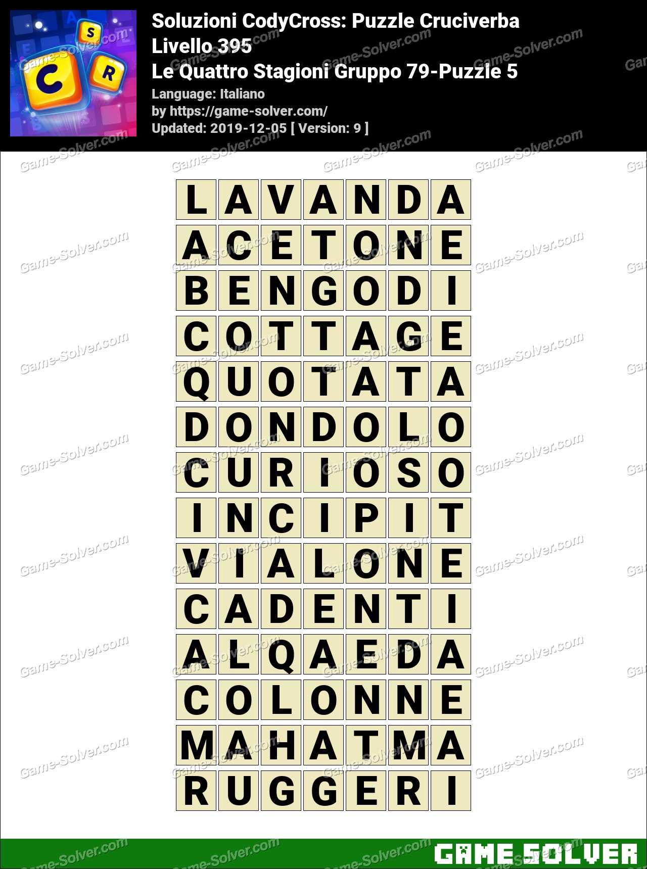 Soluzioni CodyCross Le Quattro Stagioni Gruppo 79-Puzzle 5