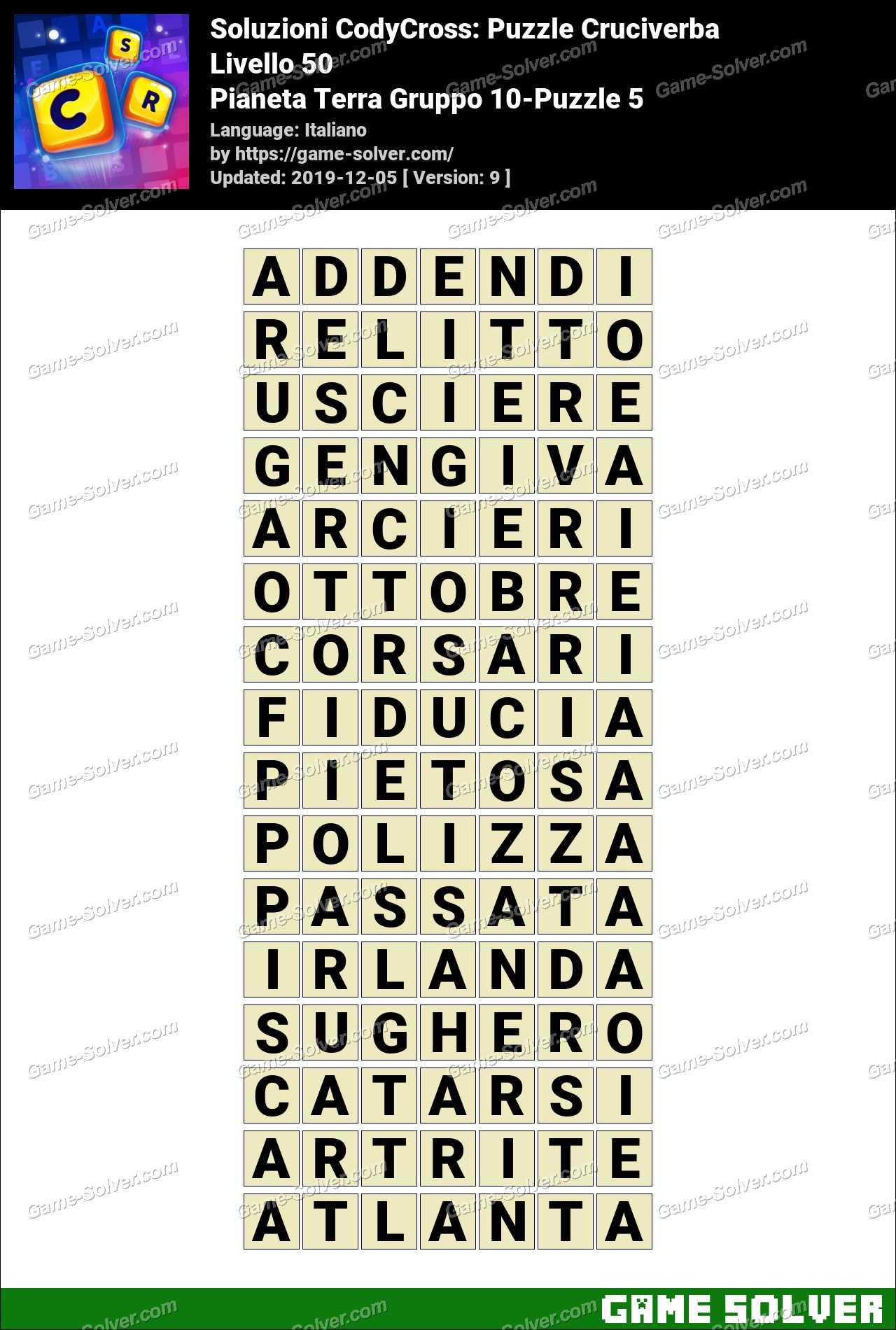Soluzioni CodyCross Pianeta Terra Gruppo 10-Puzzle 5