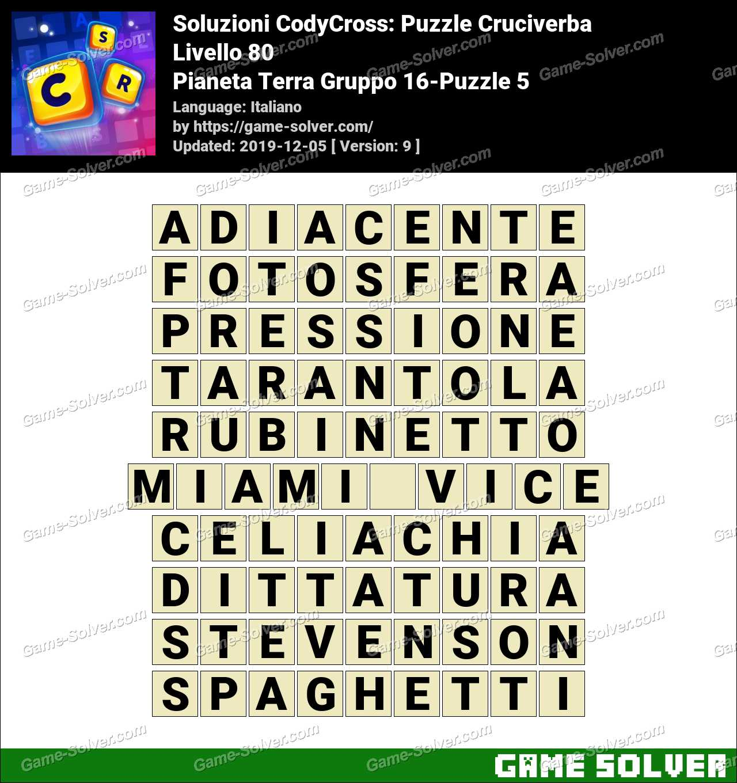 Soluzioni CodyCross Pianeta Terra Gruppo 16-Puzzle 5