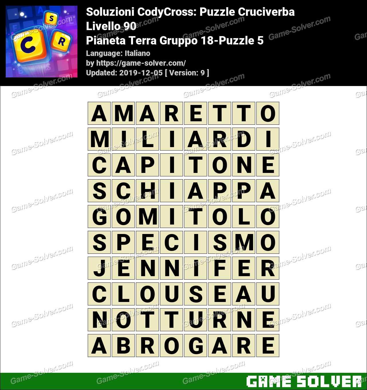Soluzioni CodyCross Pianeta Terra Gruppo 18-Puzzle 5