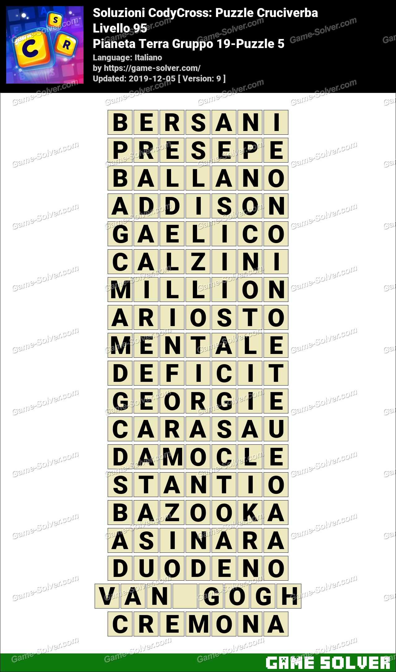 Soluzioni CodyCross Pianeta Terra Gruppo 19-Puzzle 5